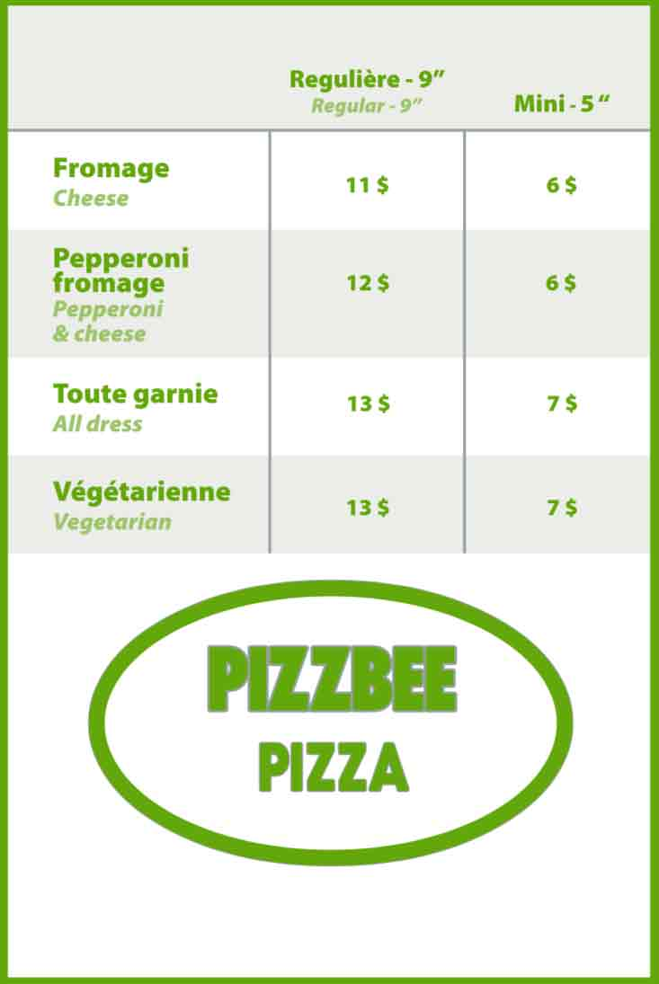 Menu Pizzbee Pizza